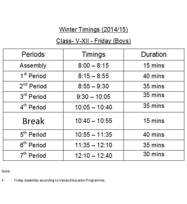 Winter Timings Class(V-XII Friday(Boys)6